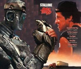 Image: Sylvester Stallone arm-wrestles an Iron Giant.