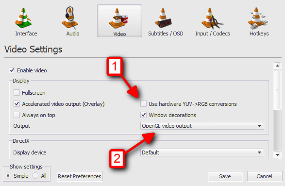 Video Settings: OpenGL